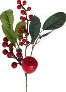 Гілочка декоративна з ягодами калини, яблуками та листям 28 см 40320F