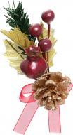 Гілочка декоративна з шишкою та ягодами 7 см 450305
