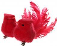 Новорічна декорація Пташки червоні 14 см