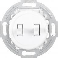 Механизм выключателя проходной двухклавишный UP! (Underprice) Retro без подсветки белый HSN-SWP.H1G2W2-WH