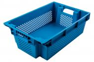 Ящик Пласт-Бокс поворотний перфорований/суцільне дно синій