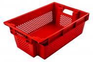 Ящик Пласт-Бокс поворотний перфорований/суцільне дно червоний