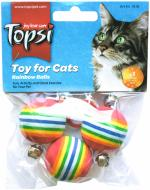 Іграшка для котів Topsi м'ячі з веселкою на гумовій мотузці (1618) 3 шт.