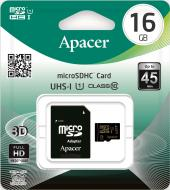Карта пам'яті Apacer miсroSDHC 16 ГБ Class 10 з SD-адаптером (AP16GMCSH10U1-R)