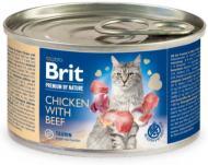 Консерва для дорослих котів Brit Premium 100614 курка та яловичина 200 г