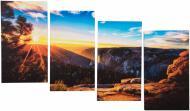 Картина модульна 4 частини 25x45 см Захід сонця в горах MK109 100x60 см