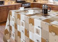 Скатертина Преміум 140x120 см білий з коричневим
