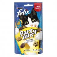 Ласощі Felix для дорослих котів Party Mix Сирний Мікс зі смаком чеддеру, гауди та едамеру 60 г