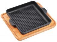 Сковорода-гриль чугунная квадратная с подставкой 180х180х25 мм HoReCa Brizoll
