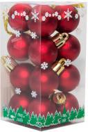 Набір іграшок кулі червоні матові Девілон 890551 d25 мм 16 шт./уп.