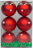Набір іграшок кулі червоні матові Девілон 890797 d80 мм 6 шт./уп.