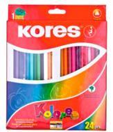 Олівці кольорові трикутні 24 шт з чинкою Kores
