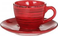 Чашка для кави з блюдцем Antique Red 90 мл Bella Vita