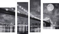 Картина модульна 4 частини Міста G-885 (2 - 53х32, 2 - 24х70) 118x75 см