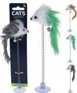 Іграшка для котів мишка на пружині 19 см