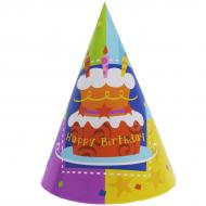 Ковпак святковий Весела витівка Торт Happy Birthday 6 шт. різнокольоровий