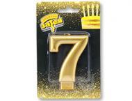 Свічка для торта золота цифра 7 Весела витівка 1 шт.