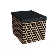 Ящик картонний із кришкою Global-Pak 00022.4 горох чорний/бежевий 320x320x420 мм