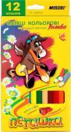 Олівці кольорові Пегашка Jumbo зі стругачкою, 12 кольорів Marco