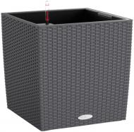 Вазон пластиковий Lechuza Cube Cottage 30 квадратний 25,2л (15372) темно-сірий