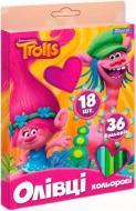 Олівці кольорові двосторонні Trolls 36 кольорів 18 шт YES