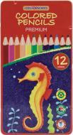 Олівці кольорові Premium 12 кольорів тригранні в металевій коробці