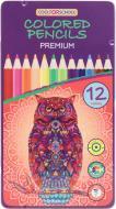 Олівці кольорові Premium 12 кольорів шестигранні в металевій коробці