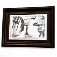 Репродукция Сальвадор Дали. Прыжки с котами. №1794 в раме за состаренным зеркалом 28x38 см SEAPS