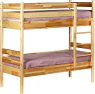 Ліжко дитяче двоярусне з натуральної деревини 60x140 см сосна