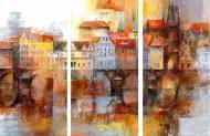 Картина модульна 3 частини Намальоване місто MK284 129x50 см
