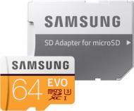 Карта пам'яті Samsung microSDHC 64 ГБ Class 10 EVO UHS-I MB-MP64GA/APC