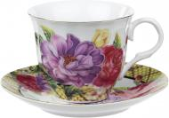 Чашка с блюдцем Большие цветы 220 мл 22-22-047 Оселя
