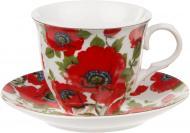 Чашка с блюдцем Красный мак 220 мл 21-245-020 Оселя
