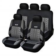 Чехлы на автомобильные сиденья (полный набор) 3 шт, универсальный размер Черно-серый (46-891711567)