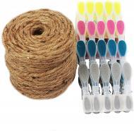 Мотузка для сушіння білизни 4 мм х 100 м + 20 пластикових прищіпок Gruntek