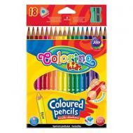 Карандаши цветные треугольные и точилка 18 цветов Colorino (57431PTR)