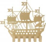 Ключниця Корабель 205х183x20 мм золотиста