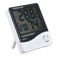 Термометр гигрометр с часами и будильником HTC-1