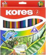 Олівці акварельні трикутні з пензликом і чинкою Kores