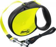 Повідець-рулетка FLEXI Neon Reflect L чорний із жовтим до 50 кг 5 м