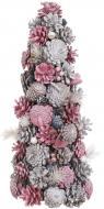 Ялинка декоративна прикрашена 41 см рожевий бежевий