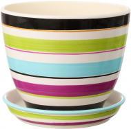 Горшок керамический Ориана-Запорожкерамика Кедр №2 полоса цветной круглый 2,2л разноцветный (019-2-139)