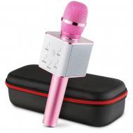 Портативный Bluetooth микрофон-караоке Q7 MS + чехол Розовый (987412)