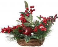Композиція новорічна з хвоєю, ягідками та листям 25 см 19A501877
