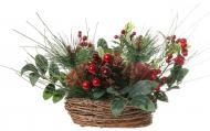 Композиція новорічна з хвоєю, ягідками та листям 23 см 19A501883