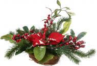 Композиція новорічна з хвоєю, ягодами, листям і квіткою 40 см 501882F