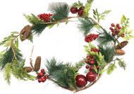 Декоративна гірлянда 1,5м з ягідками, листям, шишками та яблуками 500995-6