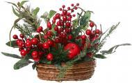 Композиція новорічна з хвоєю, ягодами і яблуками 30 см 50087