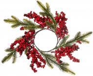Вінок декоративний різдвяний на свічку з хвоєю і ягідками d80 мм 3351
