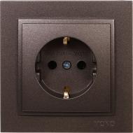 Розетка с заземлением Mono Despina без шторок без крышки бронзовый 102-232321-117